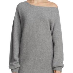 Theory   One Shoulder Rib Knit Merino Wool Sweater